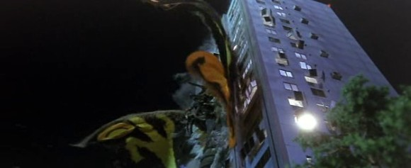 Mothra gets thrown through an office building