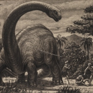 Harryhausen artwork depicting scene in film