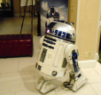 R2D2 talked to attendees as they entered the convention
